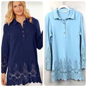 Soft surroundings jaida gauze Blue tunic m